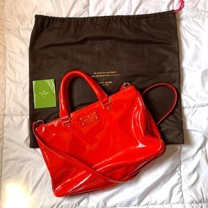 Kate Spade Patent Leather Red Satchel Crossbody